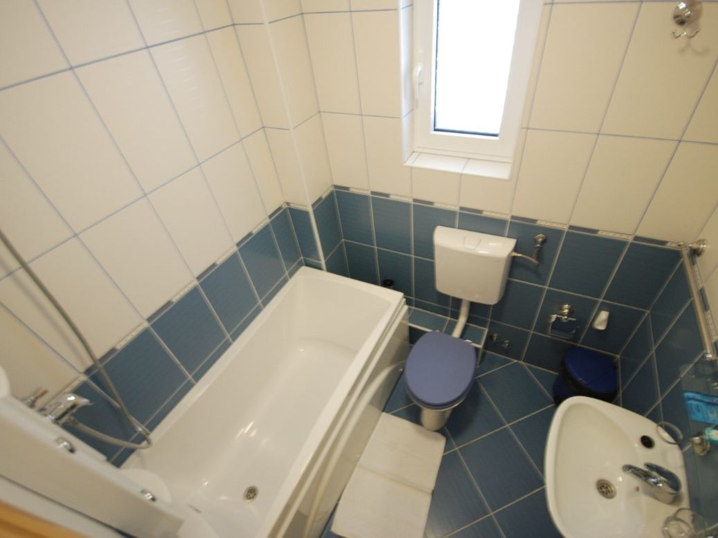 Blue apartment bathroom Montenegro